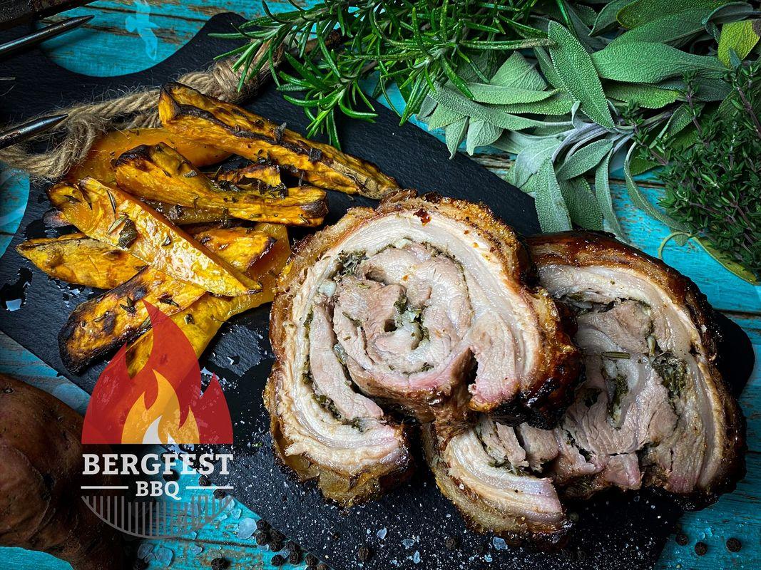 Porchetta an Süßkartoffelspalten